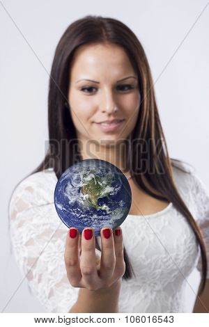 Beautiful Girl Holding Globe -credits To Http://visibleearth.nasa.gov Some Components Of This Image
