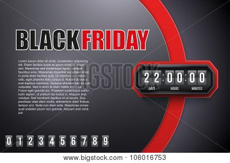 Background Black Friday and countdown timer.
