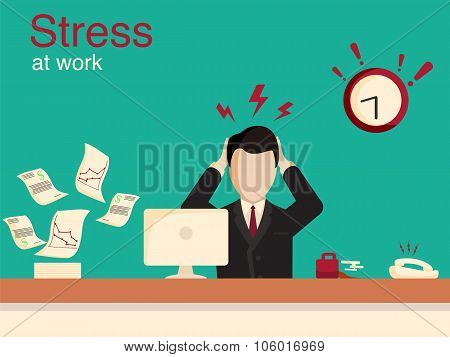 New job stress work infographic. Stress on work.
