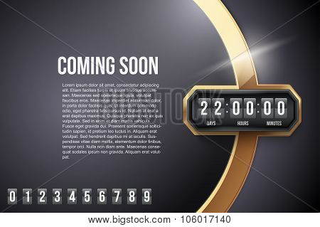 Luxury Background Coming Soon and countdown timer. Vector.