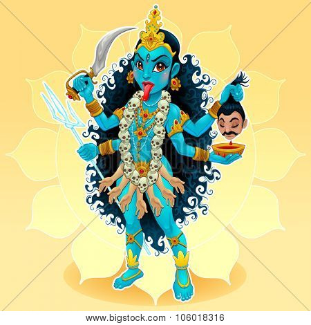 Kali goddess. Funny representation of eastern god, vector cartoon illustration.
