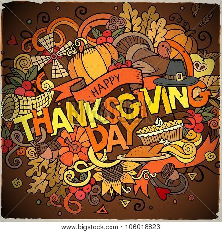Cartoon vector hand drawn Doodle Thanksgiving illustration