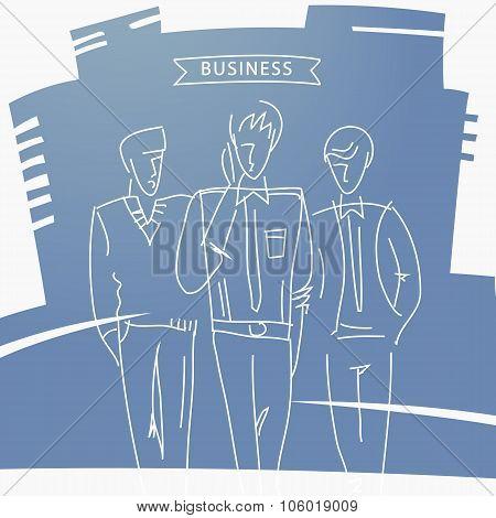 Hand-drawn design elements. Business men.