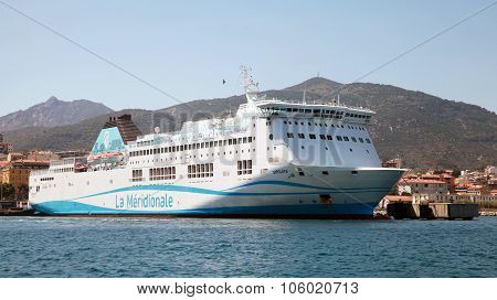 White Girolata Ferry Ship Moored In Ajaccio