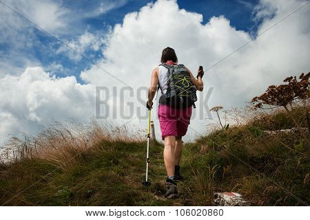 Woman hiking using hiking poles nordic walking and outdoor sports concept