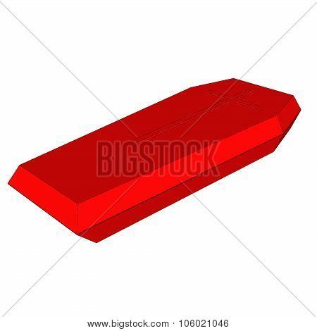 Coffin vector icon Style is flat symbol red color