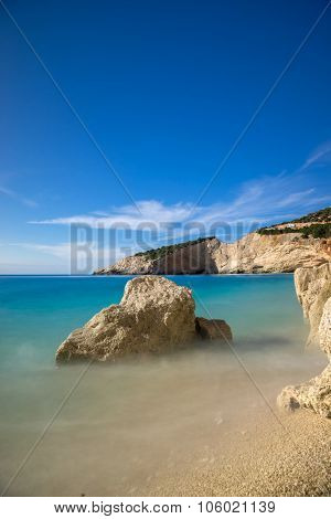 Beautiful summer white Porto Katsiki beach on Ionian Sea Lefkada, Greece