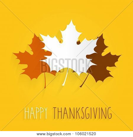 Thanksgiving poster on yellow background. Handwritten text