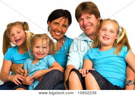 portrait of a young family with their children