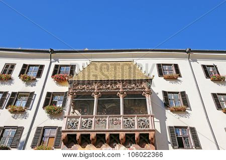 INNSBRUCK, AUSTRIA - SEPTEMBER 2014 : The iconic Golden Roof (Goldenes Dachl) on Maria Theresien street in Innsbruck, Austria on September 23, 2014. The roof was built in the 15th century.