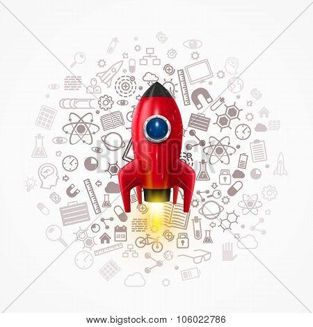 Rocket with icons on the background