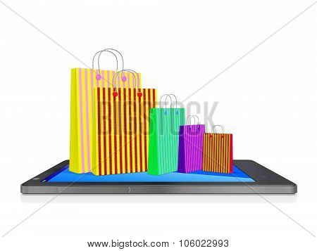 Shopping Bags On Touch Screen Smart Phone