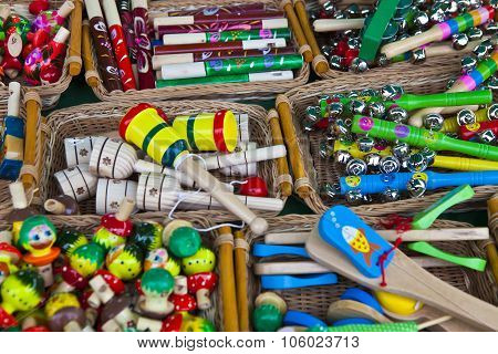 Colored Wooden Rattles