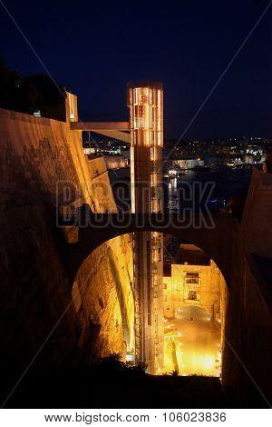 The Barakka Lift At Night, Malta