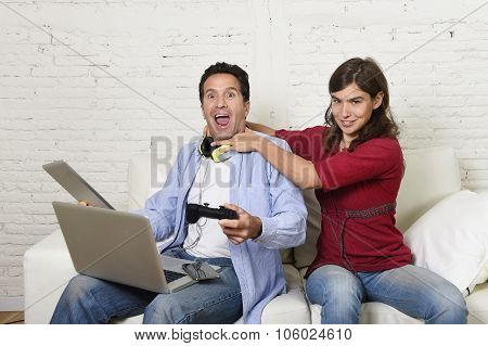 Woman Strangling Technology Freak Husband Or Boyfriend For Being Electronic Devices And Internet Add