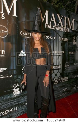 LOS ANGELES - OCT 24:  Claudia Jordan at the MAXIM Magazine's Official Halloween Party at the Private Estate on October 24, 2015 in Beverly Hills, CA