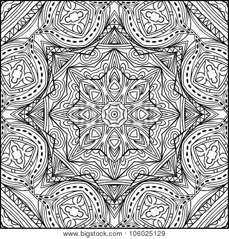 Abstract Zentangle Mandala Style Black And White Ornament