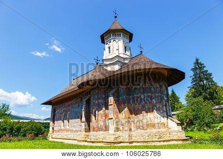 Moldovita, Romania July 06 2015: Moldovita Monastery - one of the famous painted monasteries in Roma