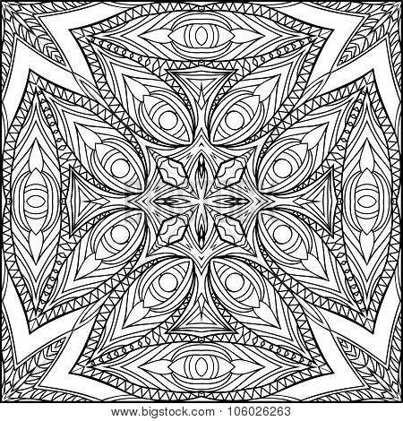 Abstract Egyptian Cross Zentangle Style Black And White Ornament