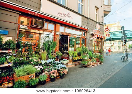 Shop With Flowers And Gifts On The Market Street
