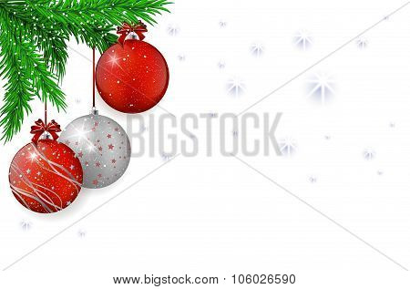 Christmas Background With Red Balls And Spruce