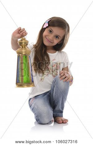 Smiling Young Girl With Ramadan Lantern
