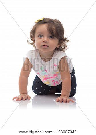 Adorable Young Caucasian Girl Crawling