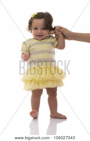 Adorable Young Caucasian Girl First Steps