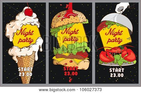 Set Of Cocktail Party Posters. Night Party Design Template With Place For Text. Set Of Posters With