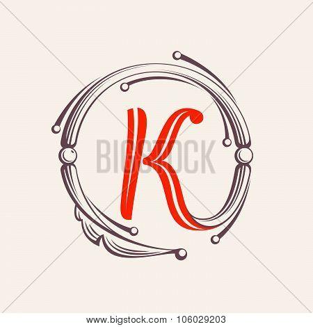 K Letter Monogram Design Elements.