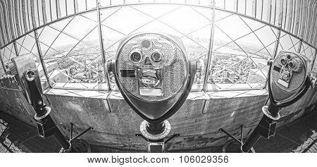 Black And White Toned Binoculars Over Manhattan, Nyc.