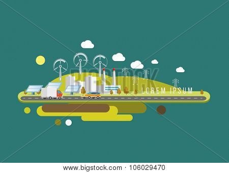 Hills landscape and factory Eco flat illustration Vector eps10.
