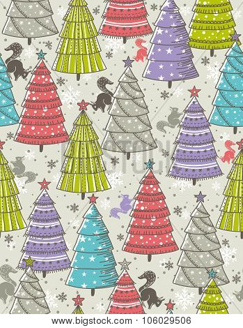 Christmas Background With Forest Of Christmas Trees, Vector