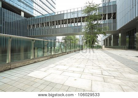 Empty Road Floor With Modern Building Background