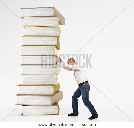 Man Push Book Pile