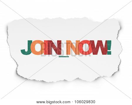 Social media concept: Join now on Torn Paper background