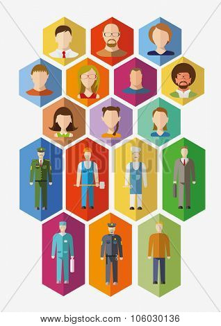 Set of avatars and people of different professions. Flat design illustration
