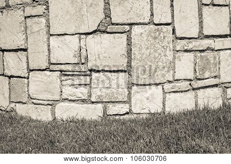 Part Stone Structure On A Lawn
