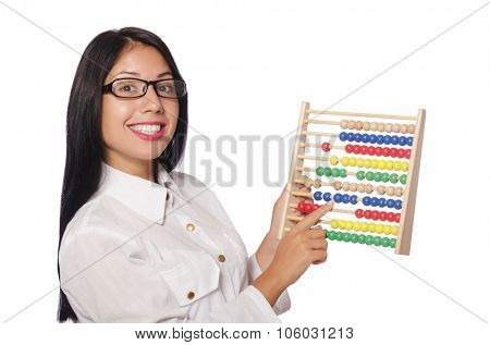 Woman in funny business concept on white