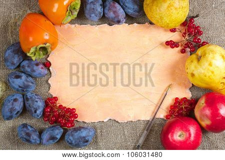 Fall Fruits And Berries.background.free Space For A Text