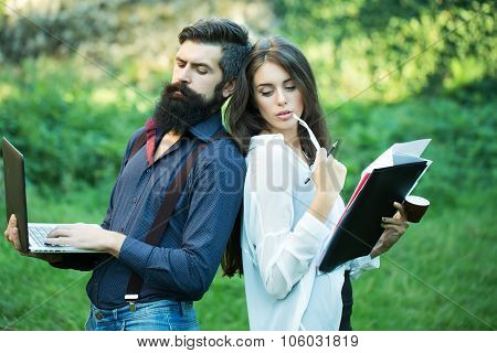 Business Couple In Park