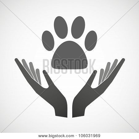 Two Hands Offering An Animal Footprint
