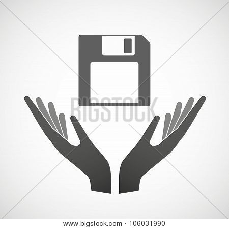 Two Hands Offering A Floppy Disk