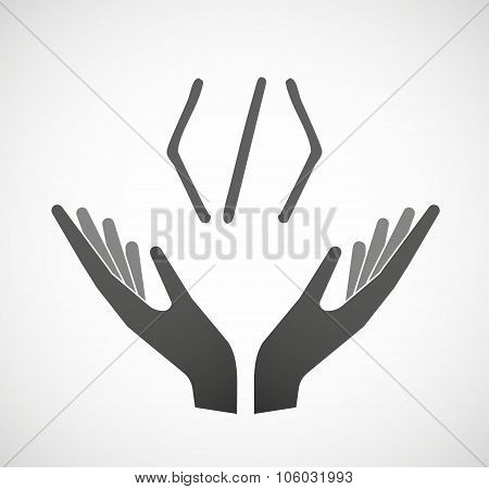 Two Hands Offering A Code Sign