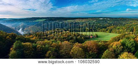 Aerial view of fall foliage, Majestic mountains landscape with fresh green leaves