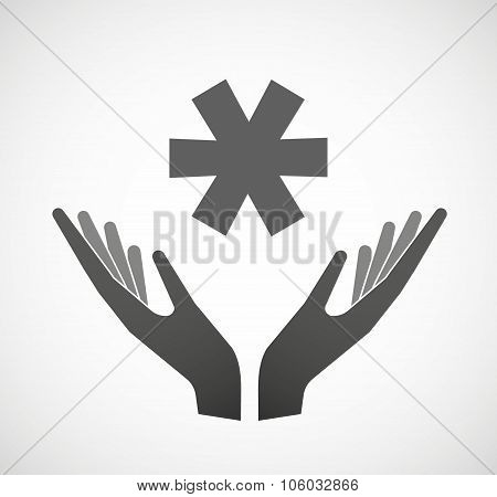 Two Hands Offering An Asterisk