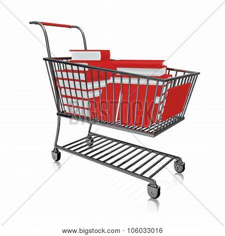 Shopping Cart Full Of Red Books