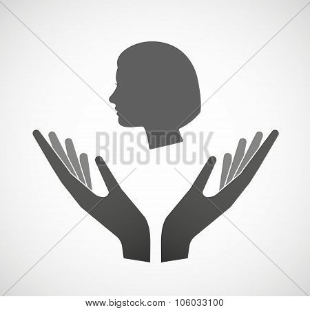 Two Hands Offering A Female Head