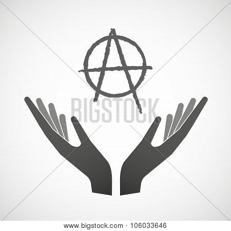 Two Hands Offering An Anarchy Sign