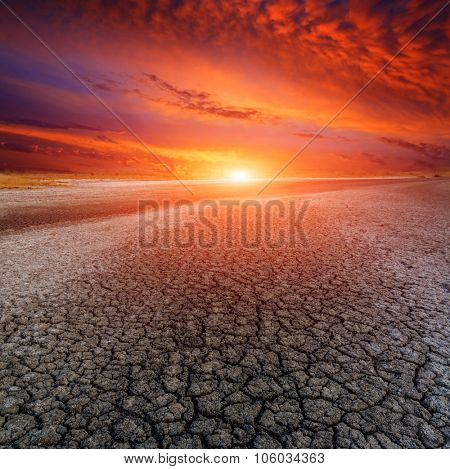 Hot sunset over dead earth